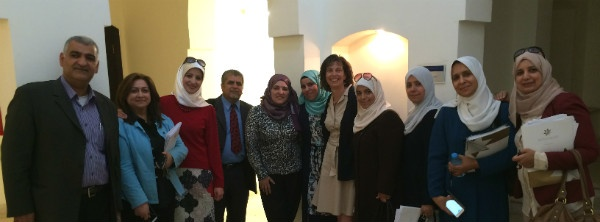 Photo: Superintendent Kelly Lyman with Jordanian  school leaders and QRTA staff.