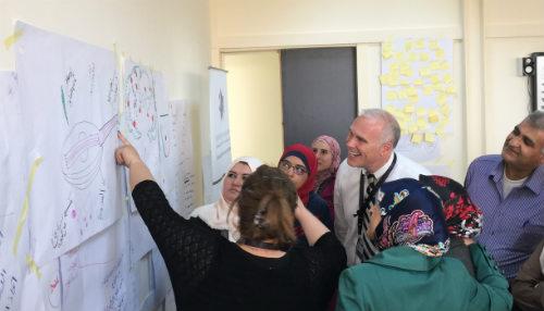 Photo: Superintendent Paul Freeman working with Jordanian  school leaders.