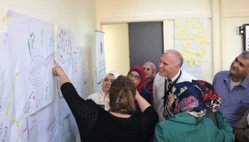 Photo: Superintendent Paul Freeman working with Jordanian  school leaders.