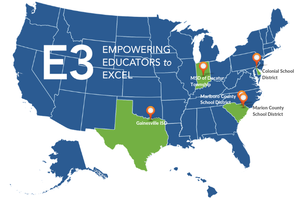 Empowering Educators to Excel (E3) Map - DE, IN, SC & TX