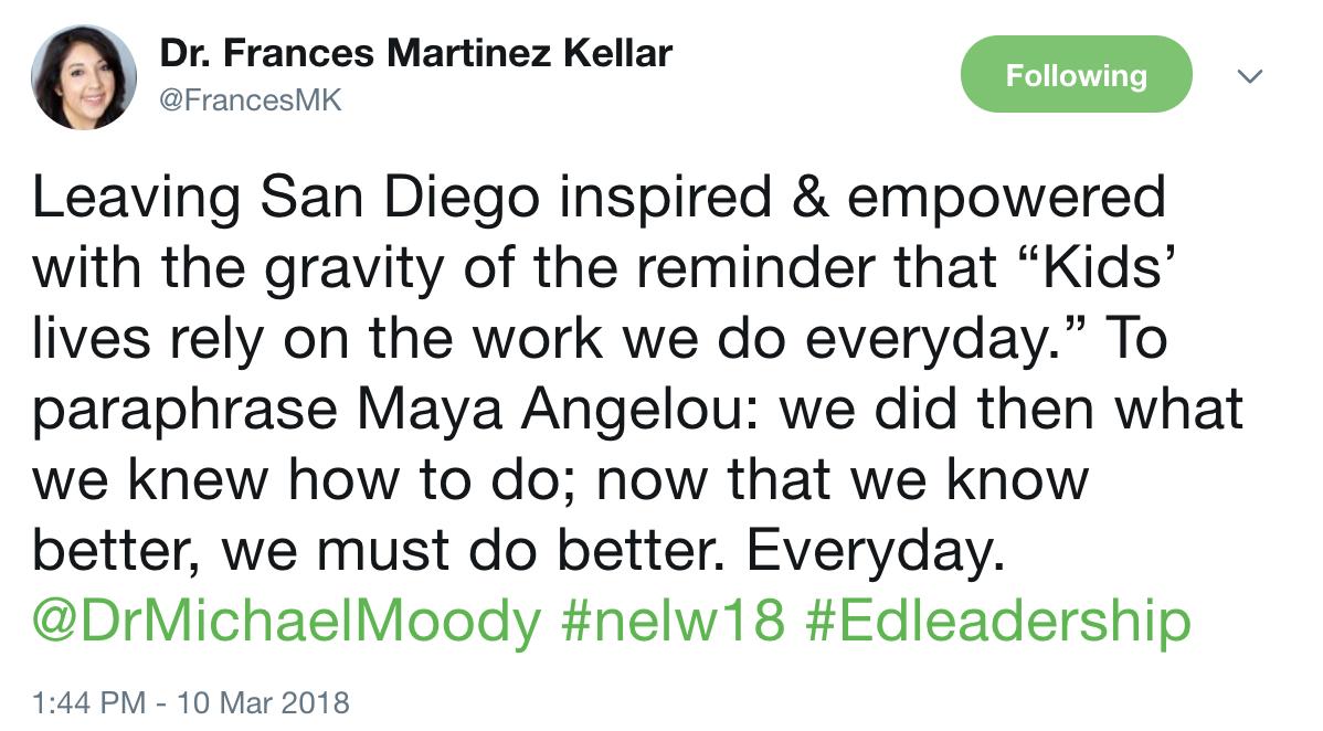 NELW18 Tweet from Dr Kellar